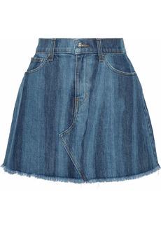 Derek Lam Woman Cleo Frayed Faded Denim Mini Skirt Mid Denim