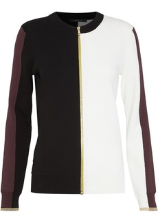 Derek Lam Woman Color-block Cotton Cardigan Burgundy