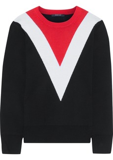 Derek Lam Woman Color-block Wool-blend Sweater Black