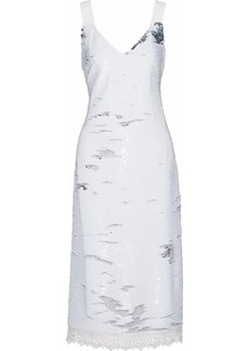 Derek Lam Woman Crochet-trimmed Sequined Crepe Midi Dress White