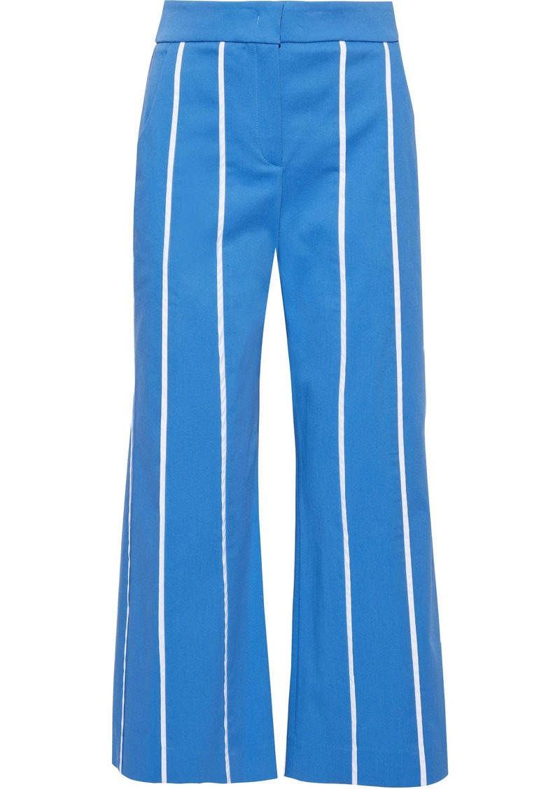 Derek Lam Woman Cropped Stretch-cotton Twill Wide-leg Pants Azure