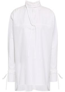 Derek Lam Woman Cutout Cotton-poplin Turtleneck Tunic White