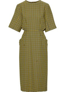 Derek Lam Woman Cutout Gingham Cotton And Wool-blend Midi Dress Yellow