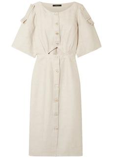 Derek Lam Woman Cutout Linen-blend Midi Dress Neutral