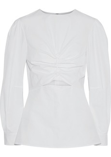 Derek Lam Woman Cutout Ruched Cotton-poplin Blouse White