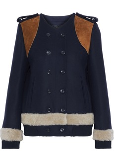 Derek Lam Woman Double-breasted Suede-paneled Wool And Cashmere-blend Felt Jacket Midnight Blue
