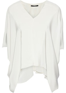 Derek Lam Woman Zen Draped Silk Crepe De Chine Blouse Ivory