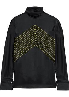 Derek Lam Woman Embroidered Silk-satin Shirt Black