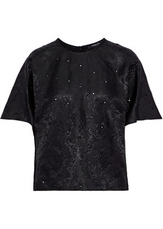 Derek Lam Woman Eyelet-embellished Linen And Silk-blend Jacquard Top Black