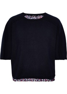 Derek Lam Woman Floral-print Crepe-paneled Cashmere And Silk-blend Sweater Navy