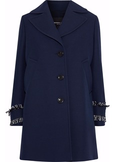 Derek Lam Woman Frayed Wool And Silk-blend Crepe Coat Navy