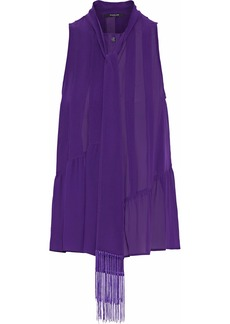 Derek Lam Woman Fringe-trimmed Pleated Silk-chiffon Blouse Purple