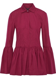 Derek Lam Woman Gathered Cotton-poplin Peplum Shirt Claret
