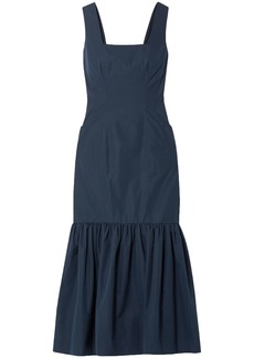 Derek Lam Woman Gathered Cotton-taffeta Midi Dress Navy