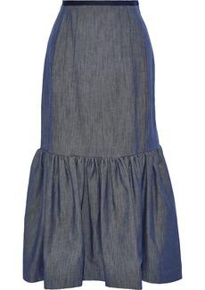 Derek Lam Woman Gathered Denim Midi Skirt Mid Denim