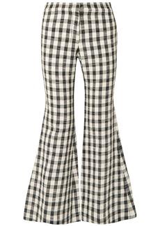 Derek Lam Woman Gingham Cotton-blend Flared Pants Black