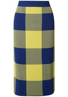 Derek Lam Woman Gingham Jacquard-knit Midi Skirt Yellow