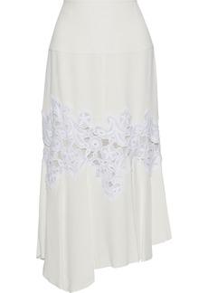 Derek Lam Woman Guipure Lace-paneled Crepe Midi Skirt Ecru