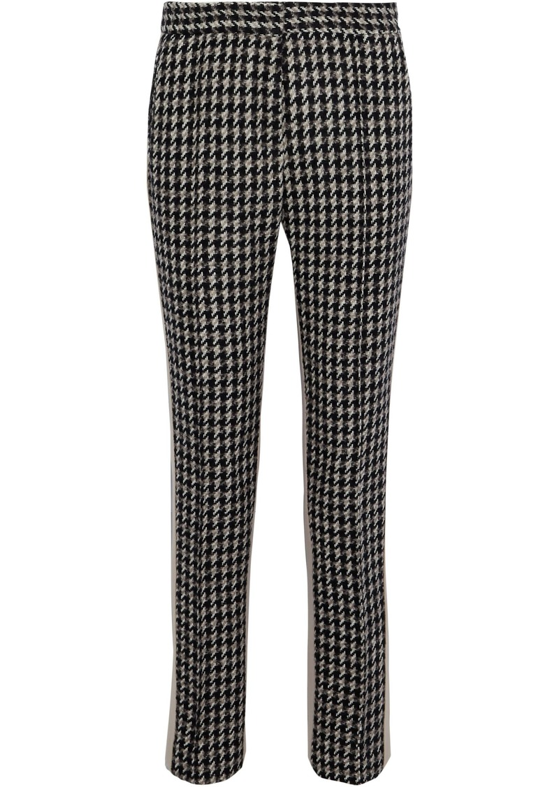 Derek Lam Woman Houndstooth Wool-blend Tweed Slim-leg Pants Taupe