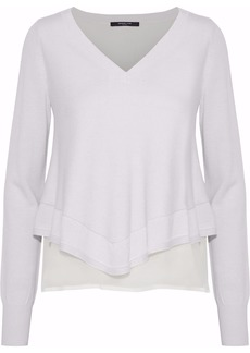 Derek Lam Woman Layered Georgette-paneled Cashmere And Silk-blend Sweater Ivory