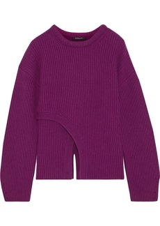 Derek Lam Woman Layered Ribbed Cashmere Sweater Violet