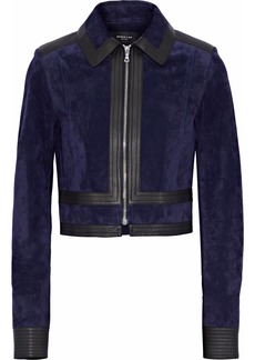 Derek Lam Woman Leather-trimmed Suede Jacket Navy