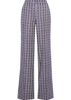 Derek Lam Woman Linen And Cotton-blend Jacquard Wide-leg Pants Purple