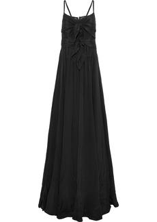Derek Lam Woman Mesh-paneled Knotted Silk Gown Black