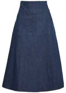 Derek Lam Woman Flared Denim Midi Skirt Mid Denim