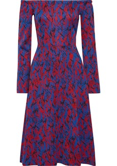 Derek Lam Woman Off-the-shoulder Cotton-blend Jacquard Dress Royal Blue