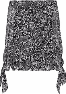 Derek Lam Woman Off-the-shoulder Printed Silk-georgette Top Black