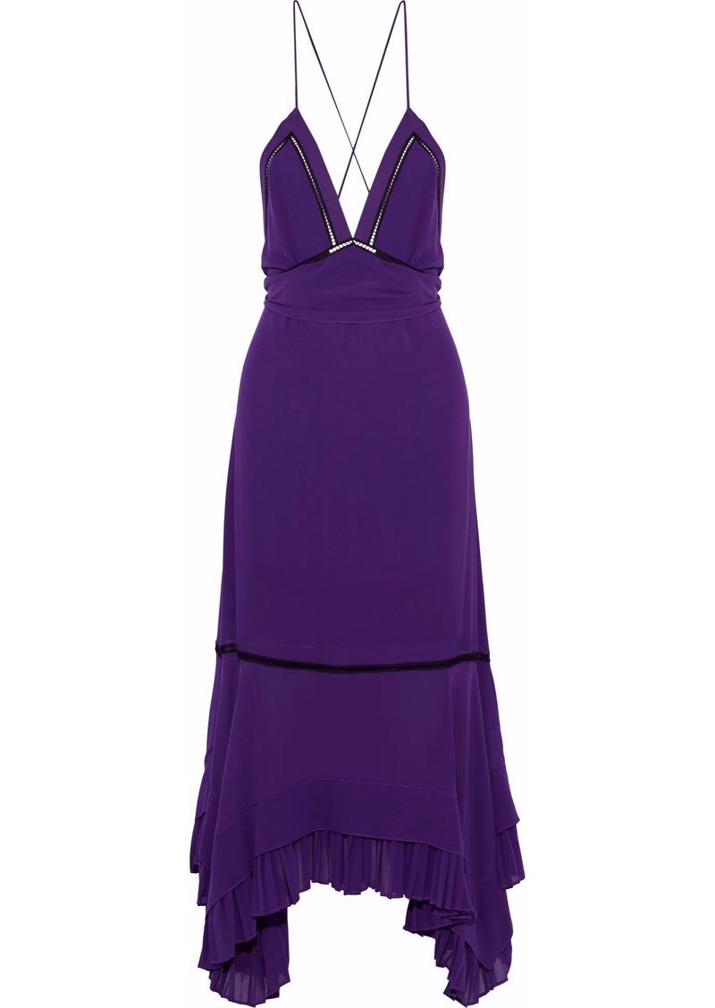 Derek Lam Woman Open-back Pleated Silk Crepe De Chine Midi Dress Purple