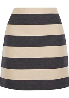 Derek Lam Woman Paneled Cotton-twill And Jacquard Mini Pencil Skirt Beige