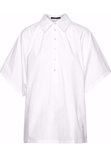 Derek Lam Woman Pleated Cotton-blend Poplin Shirt White