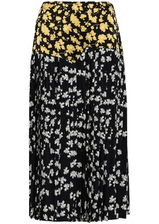 Derek Lam Woman Pleated Printed Silk-satin And Crepe De Chine Midi Skirt Black
