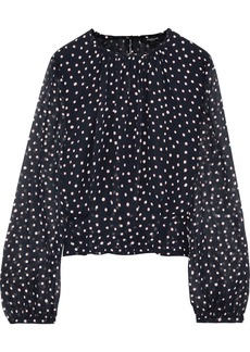 Derek Lam Woman Polka-dot Silk-georgette Blouse Navy
