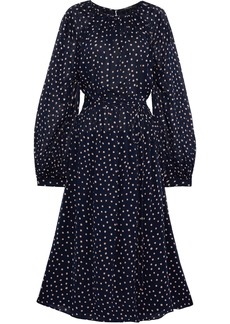 Derek Lam Woman Belted Polka-dot Silk-georgette Midi Dress Midnight Blue