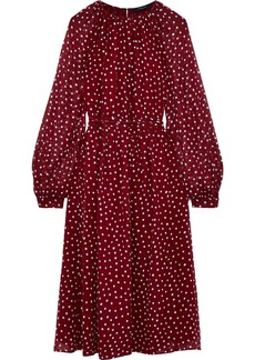 Derek Lam Woman Belted Polka-dot Silk-georgette Midi Dress Claret