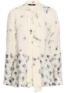 Derek Lam Woman Tie-neck Floral-print Satin-paneled Silk-crepe Blouse Ivory