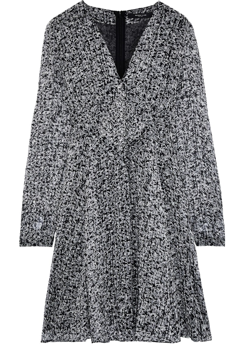 Derek Lam Woman Printed Silk-georgette Dress Gray