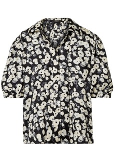 Derek Lam Woman Printed Silk-jacquard Shirt Black