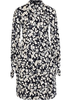 Derek Lam Woman Floral-print Silk-jacquard Shirt Dress Black