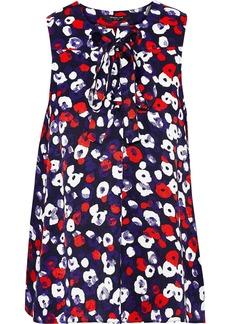 Derek Lam Woman Pussy-bow Floral-print Silk-jacquard Blouse Indigo