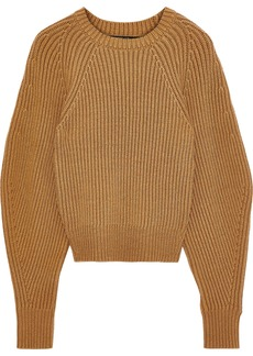 Derek Lam Woman Ribbed Cotton-blend Sweater Camel