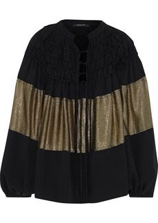 Derek Lam Woman Ribbed Lamé-paneled Shirred Silk-blend Crepe Blouse Black