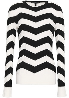 Derek Lam Woman Ribbed Striped Cashmere And Silk-blend Top Black