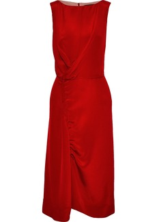 Derek Lam Woman Draped Ruched Silk Satin-crepe Dress Crimson