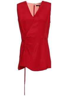 Derek Lam Woman Ruched Silk Crepe De Chine Top Red