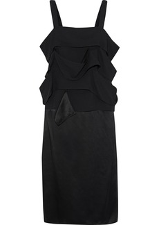 Derek Lam Woman Ruffled Crepe-paneled Silk-satin Dress Black