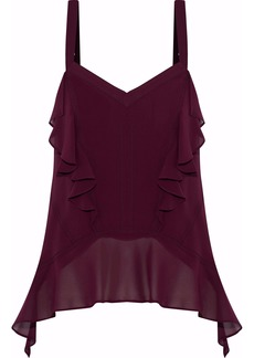 Derek Lam Woman Ruffled Silk-georgette Camisole Plum